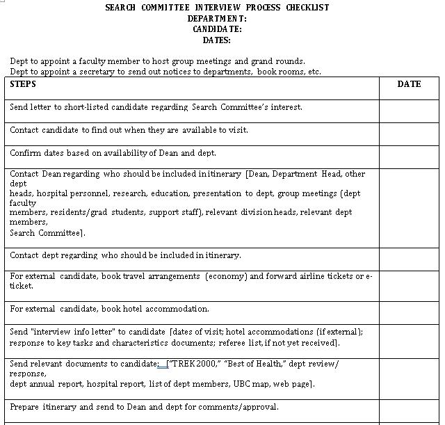 Interview Process Checklist Template