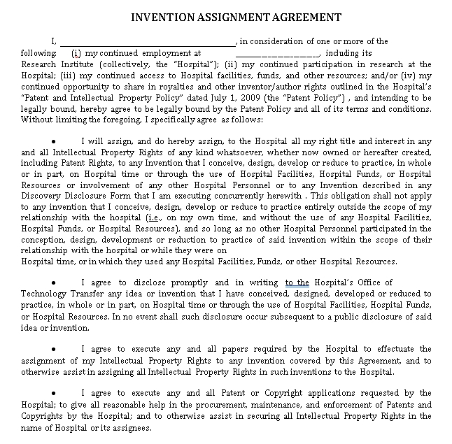 Invention Assignment Agreement