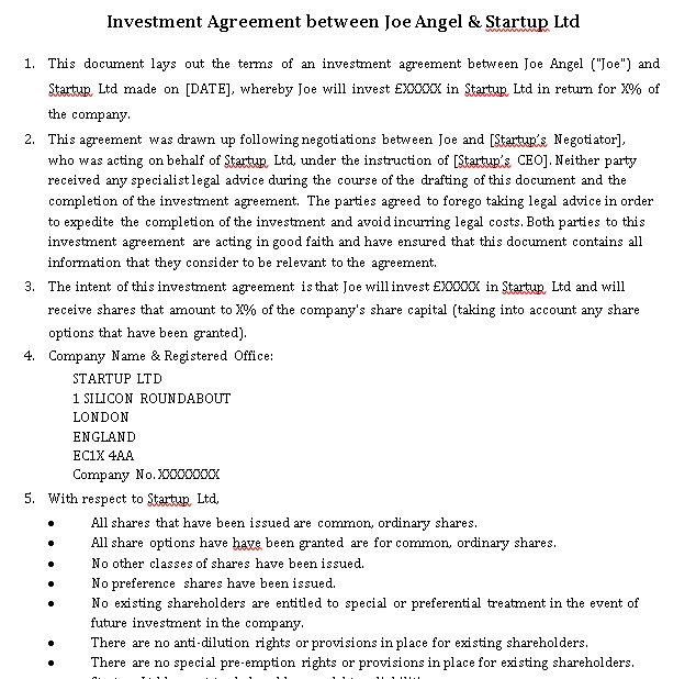 Investment Agreement Between Angel Startup Template