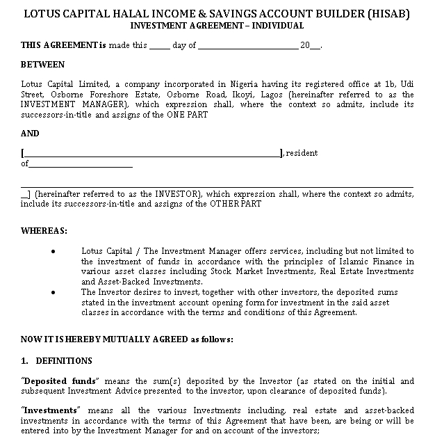Investment Agreement Template PDF Format