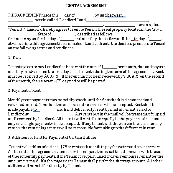 Landlord Tenant Agreements Template 1