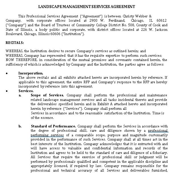 Landscape Management Service Agreement
