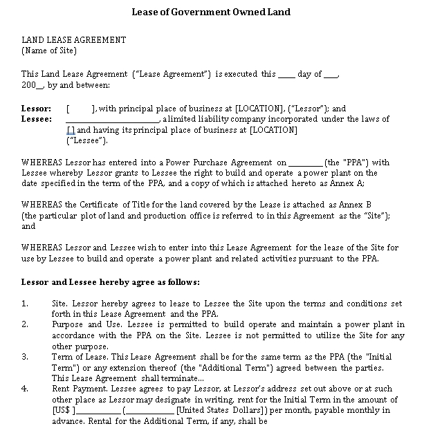 Lease of Government Owned Land