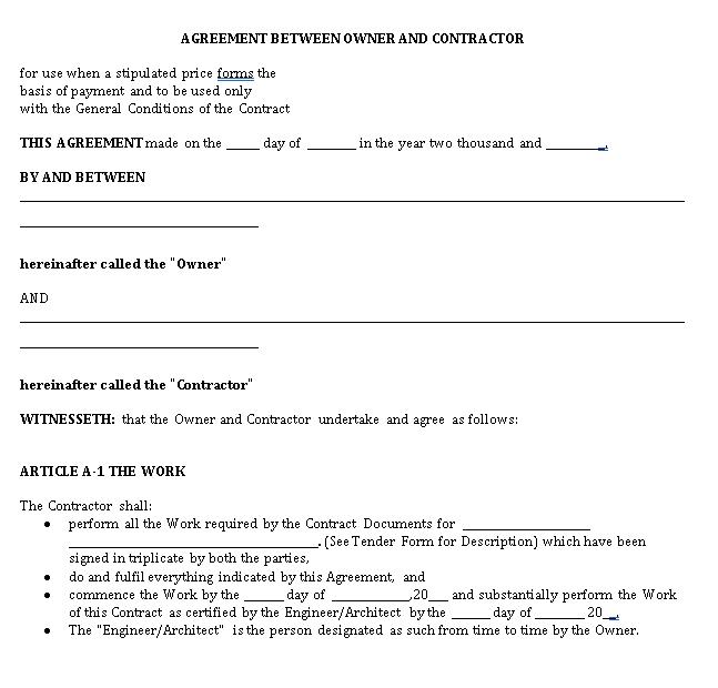Legal Agreement Between Contractor Owner