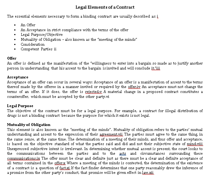 Legal Elements Of Contract Agreement