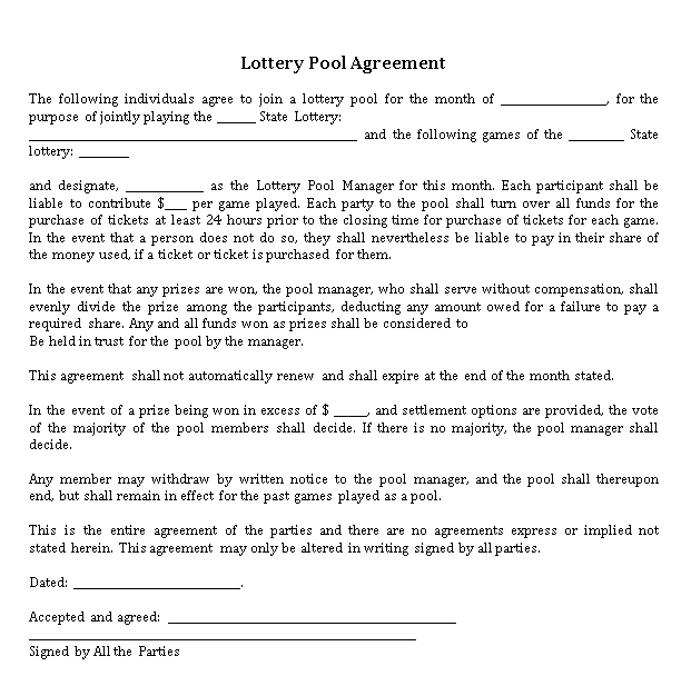 Legal Lottery Pool Agreement Template
