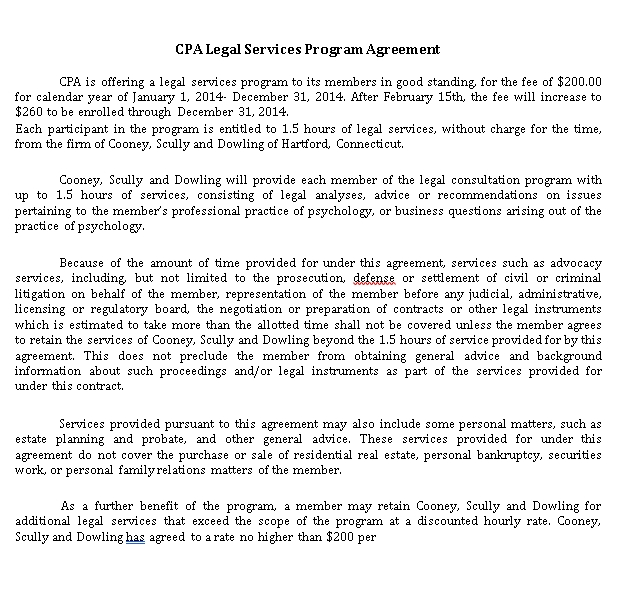 Legal Services Program Agreement
