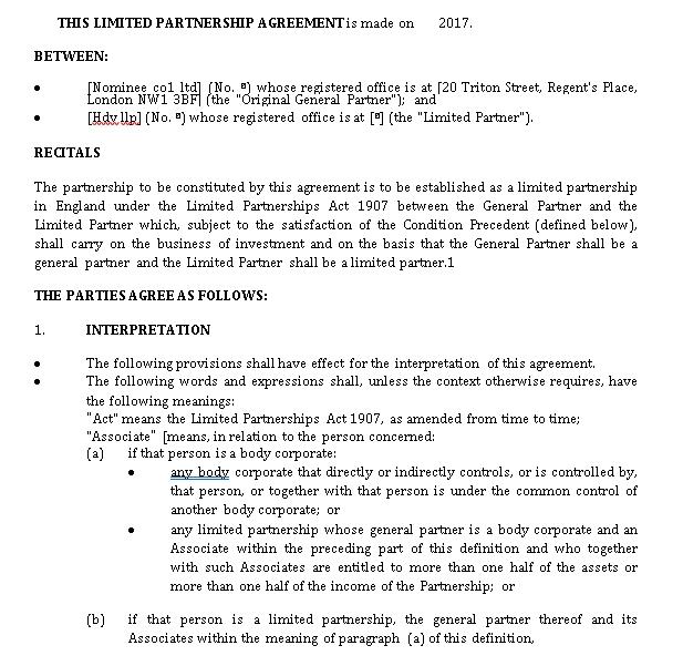 Limited Partnership Agreement Short Form