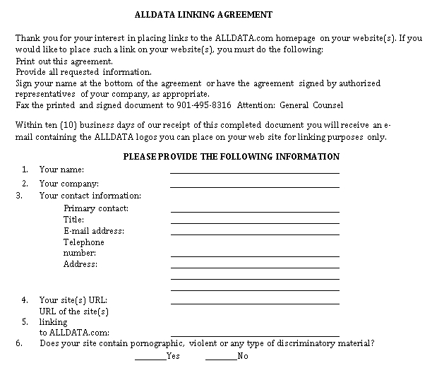 Linking Agreement Format