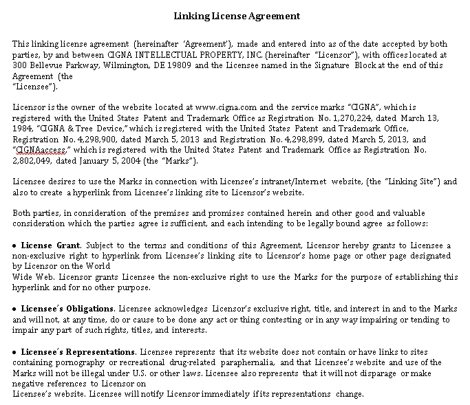 Linking License Agreement Example
