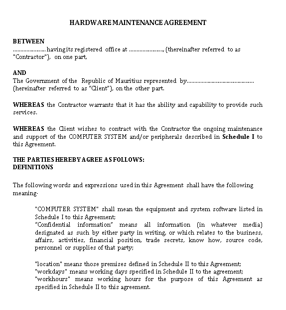 Maintenance Agreement Example