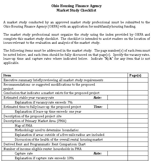 Market Study Checklist Template