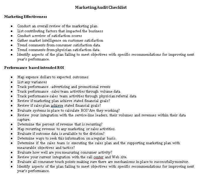 Marketing Audit Checklist Template