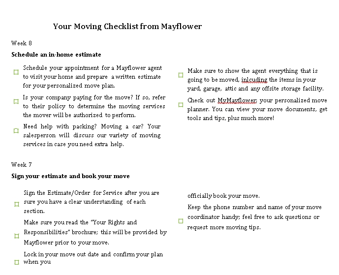 May Flower Moving Checklist PDF Format Template
