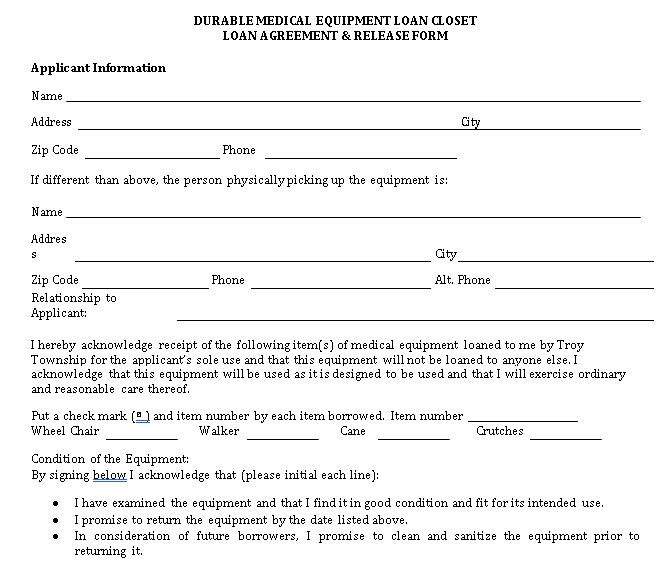 Medical Equipment Loan Agreement