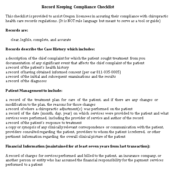 Medical Record Keeping Checklist Template