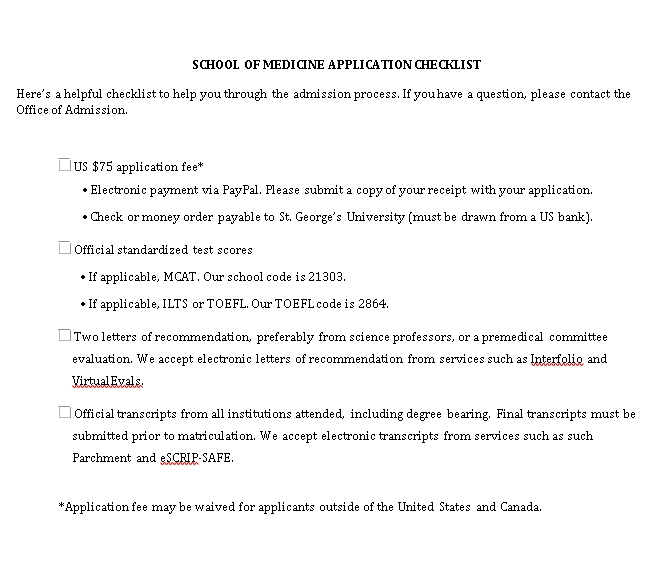 Medicine Application School Checklist