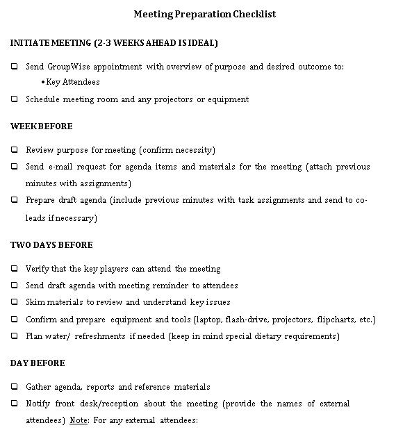Meeting Preparation Checklist Template