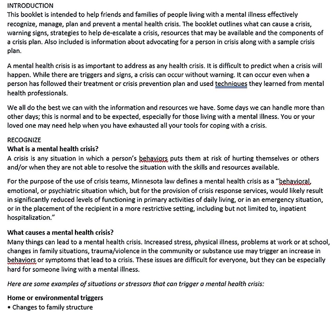 Mental Health Crisis Plan