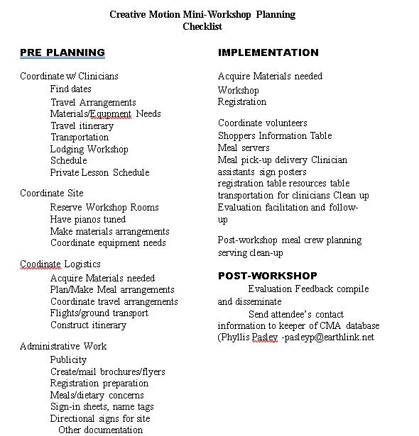 Mini Workshop Planning Checklist
