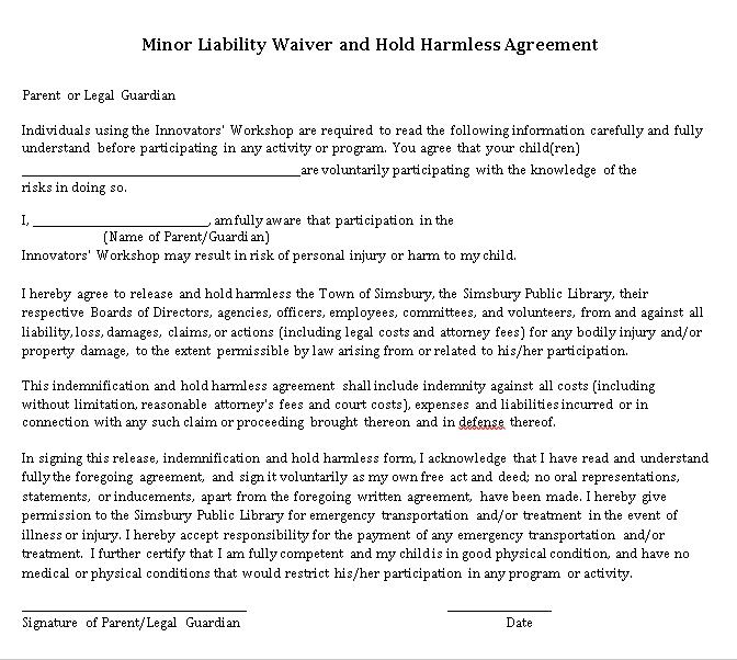 Minor Liability Hold Harmless Agreement