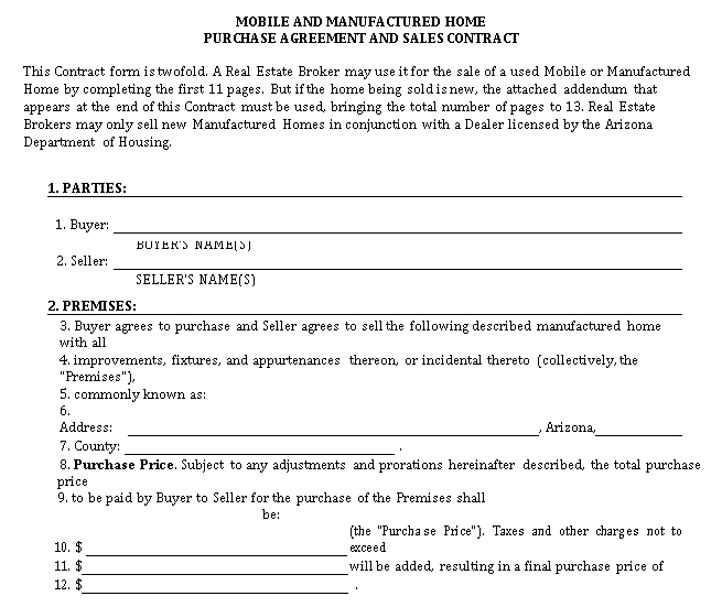 Mobile and Manufactured Home Purchase Agreement