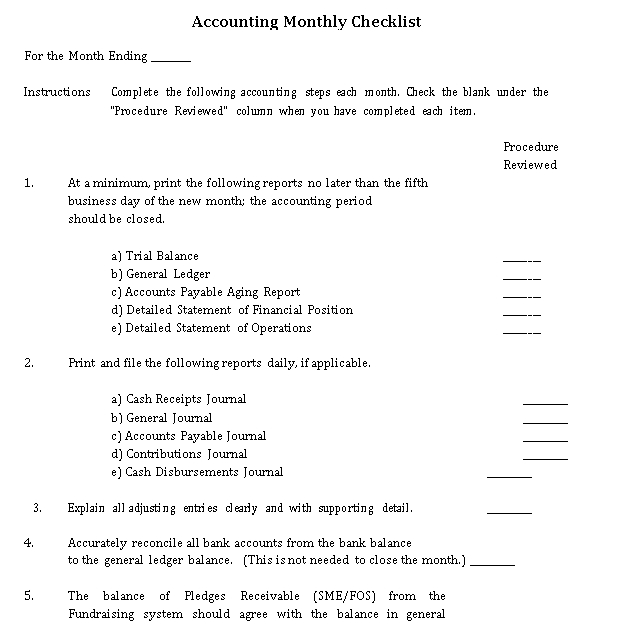 Monthly Accounting Checklist Template