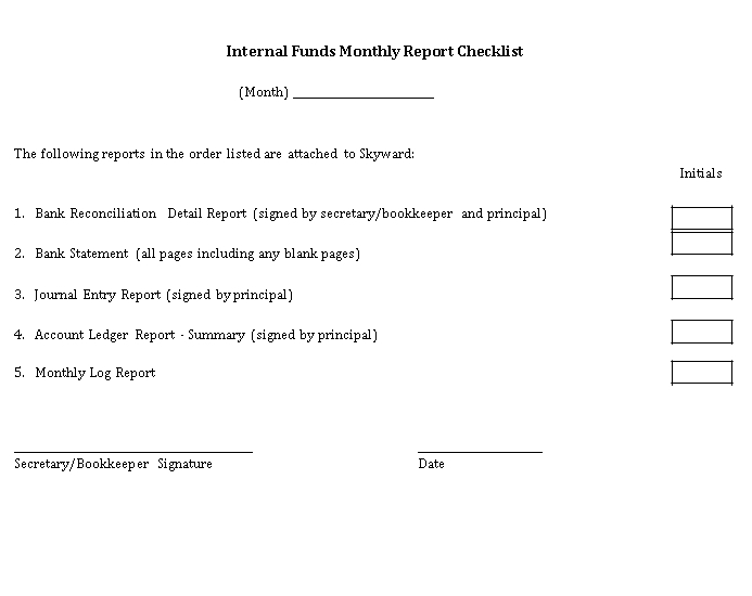 Monthly Report Checklist Template