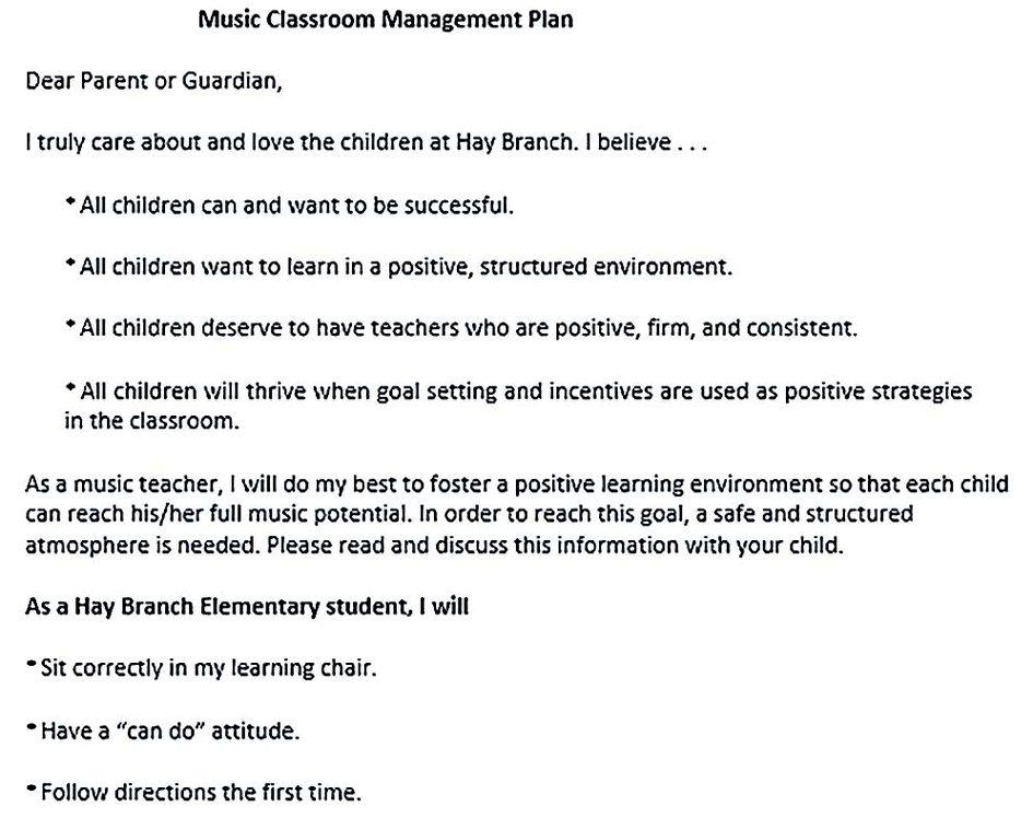 Music Classroom Management Plan