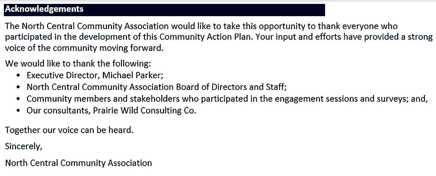 NCCA Community Action Plan Sample