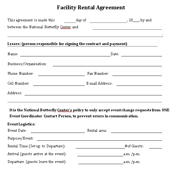 National Butterfly Center Facility Rental Agreement
