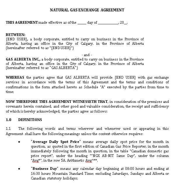 Natural Gas Exchange Agreement