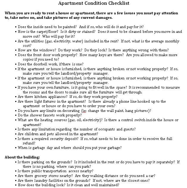 New Apartment Condition Checklist