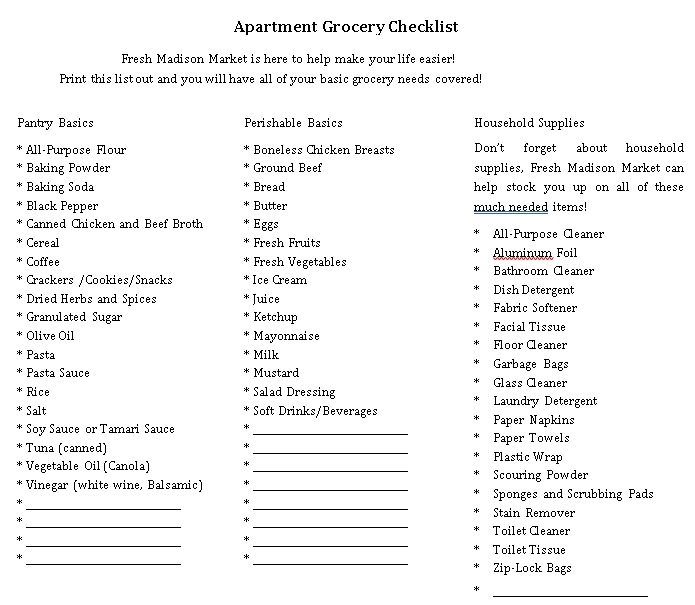 New Apartment Grocery Checklist