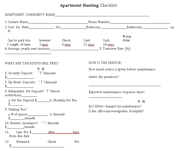 New Apartment Hunting Checklist