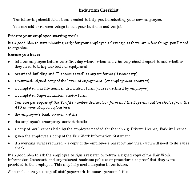 New Employee Induction Checklist Template