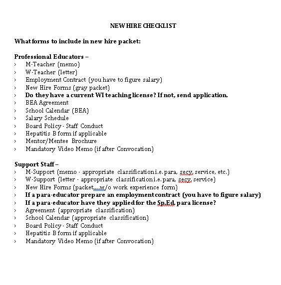 New Hire Checklist DOC Format Template