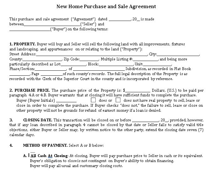 New Home Purchase and Sale Agreement