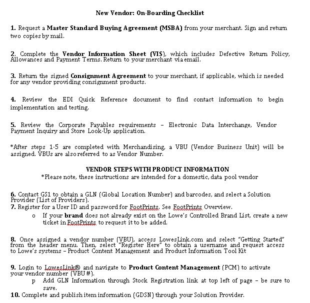 New Vendor Onboarding Checklist PDF Format Template