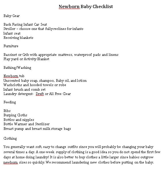 Newborn Packing Checklist