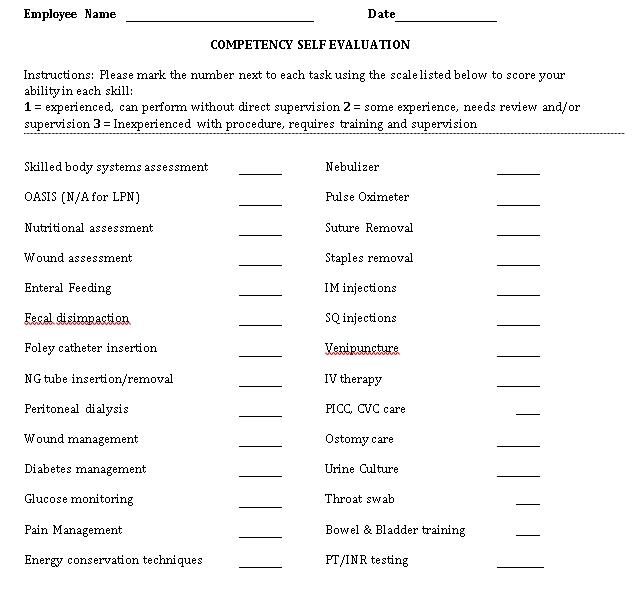 Nurse Compentency Checklist
