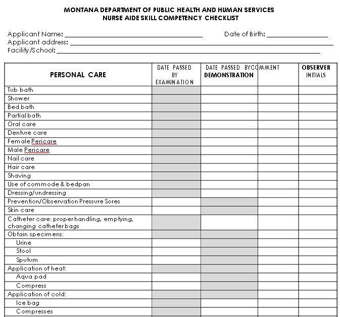 Nurse Skill Competency Checklist