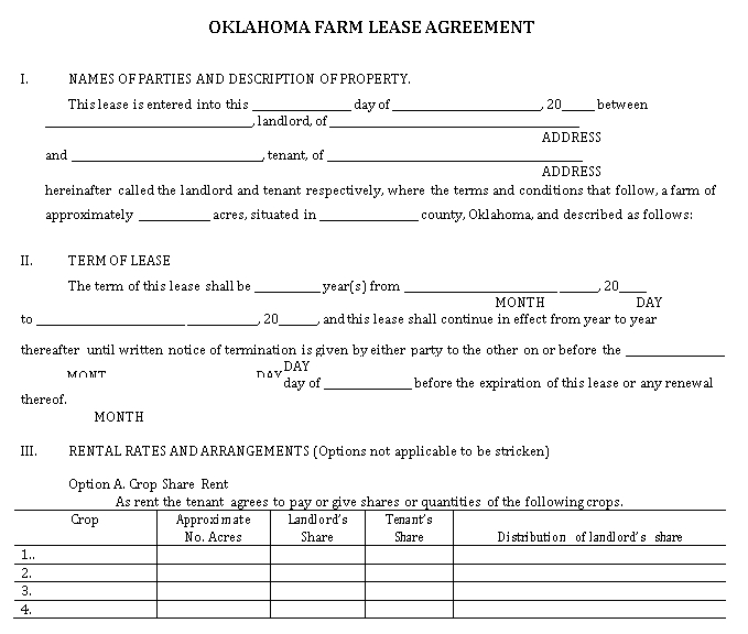 Oklahoma Farm Lease Agreement