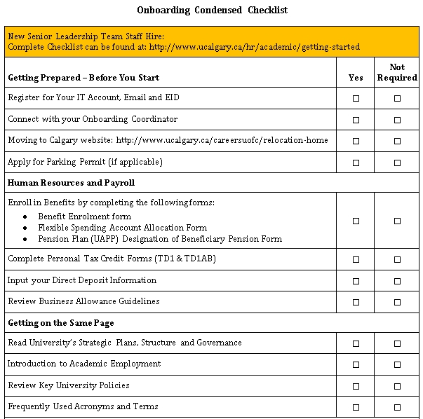 Onboarding Checklist DOC Format Template