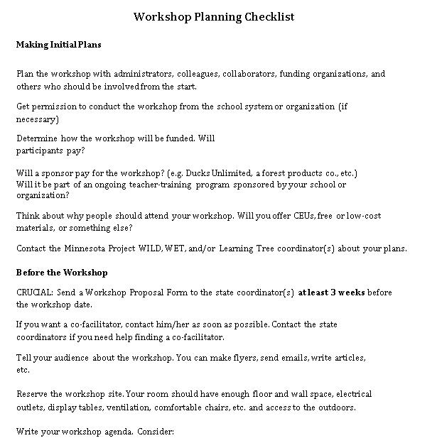 One Day Workshop Planning Checklist