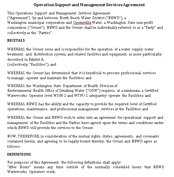 Operation Support Management Services Agreement