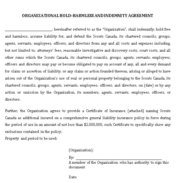 Organizational Hold Harmless Agreement