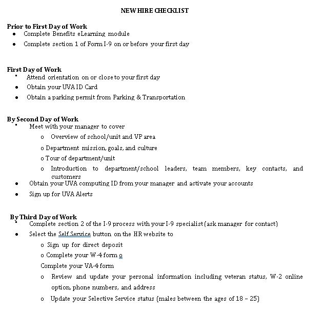 Organized Orientation Checklist Template