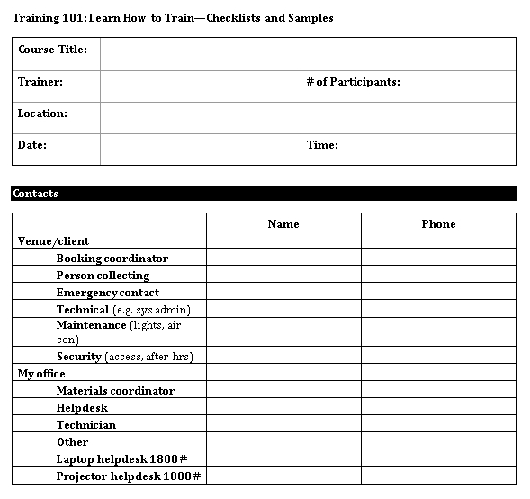 PDF Format of Training Checklists Template 1