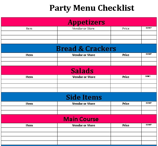 Party Menu Checklist Template